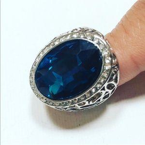 Evolving Always Jewelry - Beautiful Blue Sapphire Fashion Ring Silver Tone